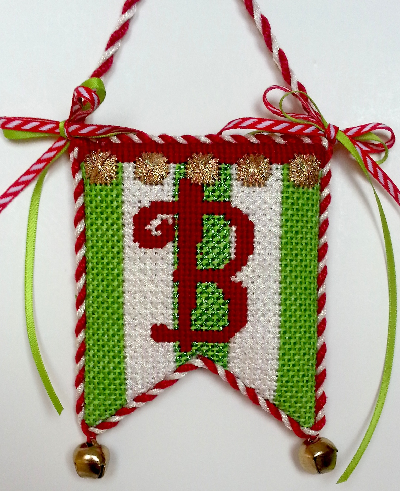 B Flag needlepoint ornament bethgantzdesigns