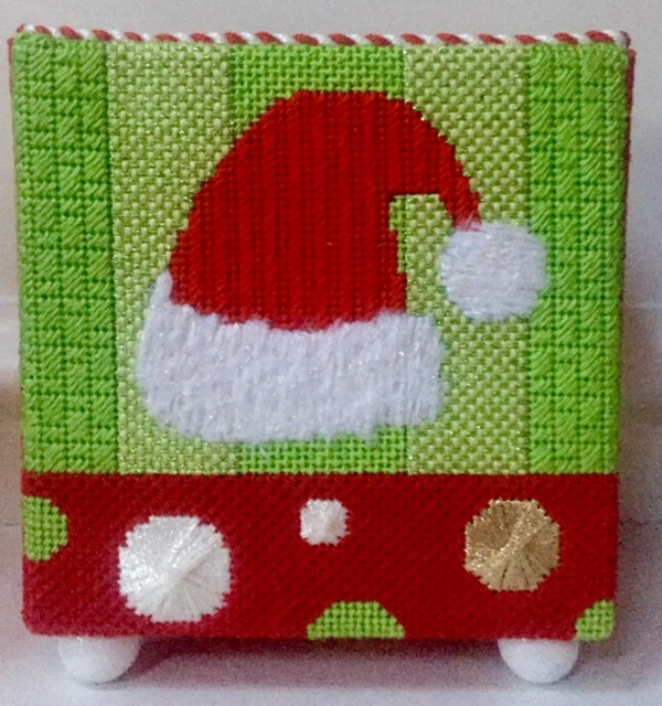 Santa hat needlepoint box
